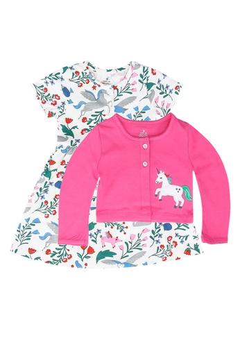 Milliot & Co. pink Alan Girls' Dress With Cardigan 3E6FAKA32F92DAGS_1