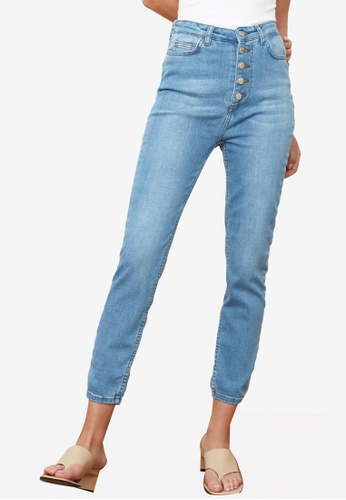 Trendyol blue Button Front High Waist Skinny Jeans AD12FAA8C1F184GS_1