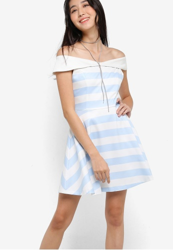Something Borrowed white and blue Printed Fit and Flare Dress 7617FAA215A220GS_1