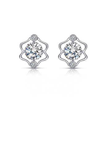 Glamorousky white 925 Sterling Silver Twelve Horoscope Gemini Stud Earrings with White Cubic Zircon 6EE09AC642871BGS_1