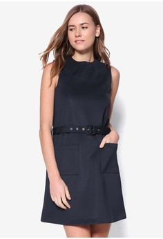 Collection Belted Patch Pockets A-Line Dress