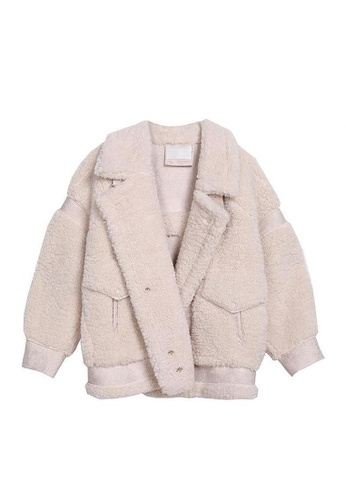 Twenty Eight Shoes beige VANSA Colorblock Suede Lambs Wool Coat  VCW-C1664 5A385AA4225A2EGS_1
