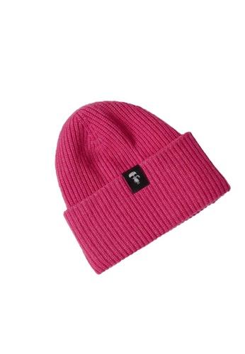 KARL LAGERFELD pink K/Ikonik 3d Pin Beanie 68454ACF39253DGS_1