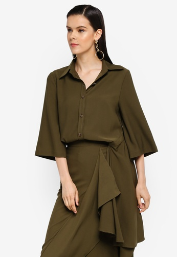 AfiqM green Side Bias Shirt 2F0D9AA46E10D5GS_1