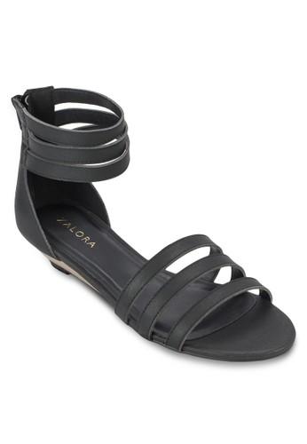 zalora 鞋評價多帶楔型低跟涼鞋, 女鞋, 鞋
