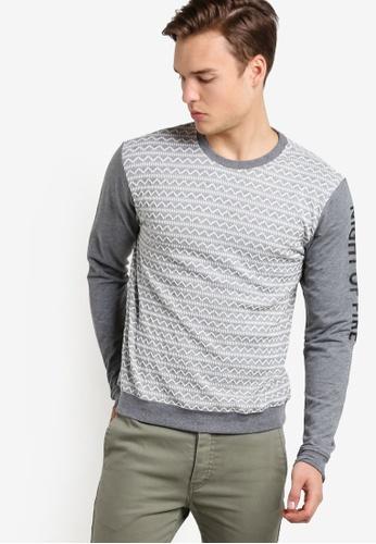 Marc & Giselle grey Long Sleeve Printed Sweater MA188AA29GIKMY_1