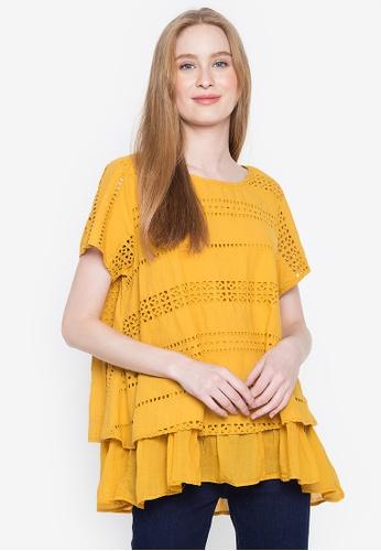 BLUSA yellow Clara Full Eyelet Cotton Material Blouse D6DB5AAF40676DGS_1