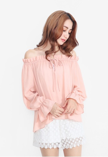 YOCO pink Tie Front Off The Shoulder Top with Frill Hem YO696AA0SZV5MY_1