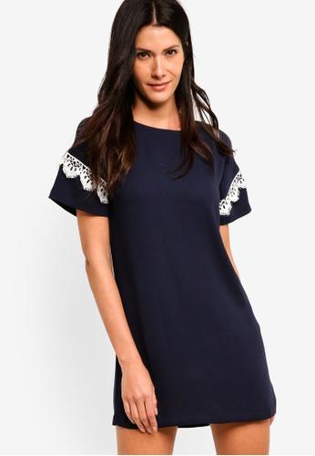 82892a40da3 Shop ZALORA Shift Dress With Lace Trim Online on ZALORA Philippines