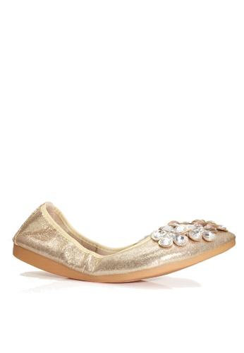 Twenty Eight Shoes 金色 舒適人造鑽石閃光豆豆鞋 VL6281 1C1CESH70F39B7GS_1