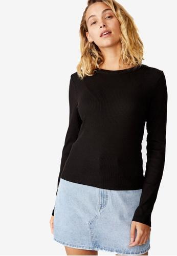 Cotton On black The Turn Back Long Sleeve Top 13ADDAA635AF4CGS_1