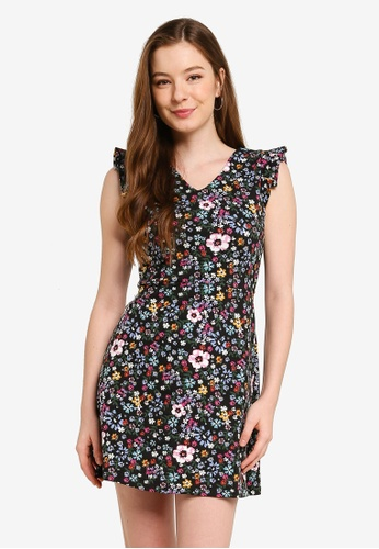 UniqTee navy Floral Mini Dress with Open Back 7D927AA2F56E52GS_1