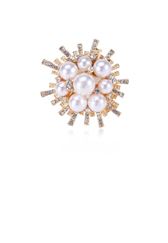 Glamorousky white Fashion and Elegant Plated Gold Geometric Flower Imitation Pearl Brooch with Cubic Zirconia 4811AAC2F10818GS_1