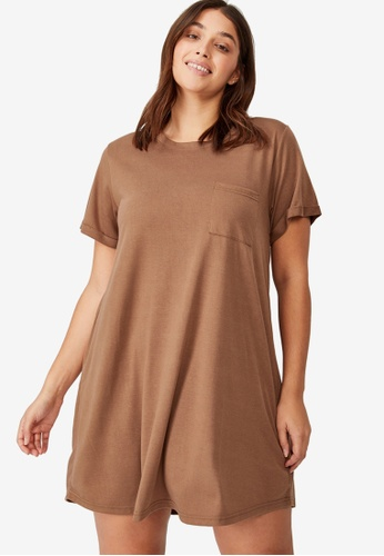Cotton On brown Curve Relaxed Tee Dress 058E4AAA690BFFGS_1