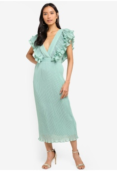 09e33e5f669 TOPSHOP green Ruffle Pleated Midi Dress EFCBBAA7800EEBGS 1