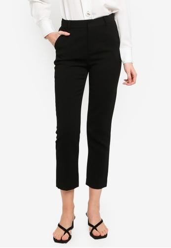 Hopeshow black Casual Cropped Pants 6835BAAE442C67GS_1