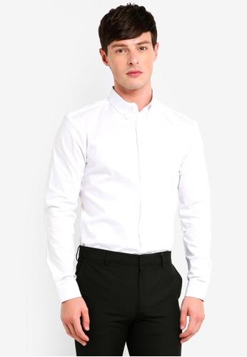 Burton Menswear London 白色 修身剪裁鈕釦襯衫 F76C5AAD962CBEGS_1