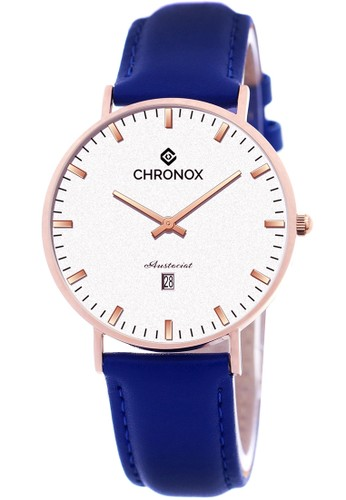 CHRONOX blue Chronox CX1007/B5 PRG- Jam Tangan Pria -Tali Kulit Biru Rosegold 81BB3ACED1D0EAGS_1