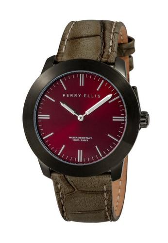 PERRY ELLIS brown Perry Ellis Slim Line Unisex 42mm Quartz Watch 07011-01 66B1DAC14D1092GS_1