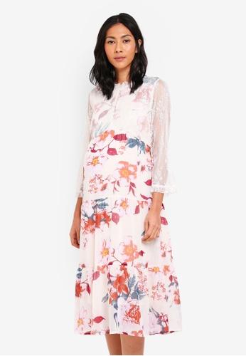 Mama.licious multi Maternity Veronica 3/4 Woven Midi Dress A359DAA33FB51EGS_1