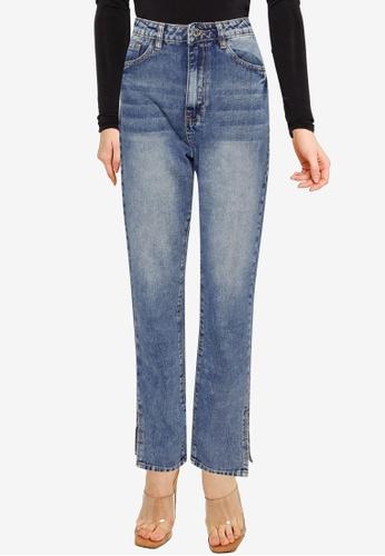 MISSGUIDED blue Side Split Wrath Jeans D79F3AA114DB1EGS_1