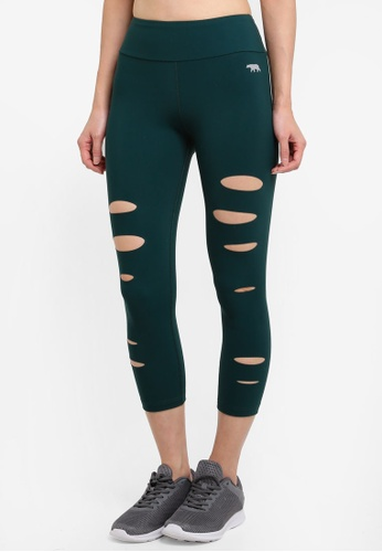 Running Bare green 7/8 Tights With Waistband Pocket 436CAAA3102F52GS_1