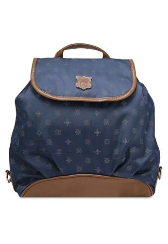NUVEAU navy PU-Trimmed Printed Nylon Backpack NU245AC0RKVZMY_1