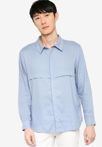 ZALORA BASICS blue Front Panelling Long Sleeve Shirt 71FE7AA9F836BDGS_1