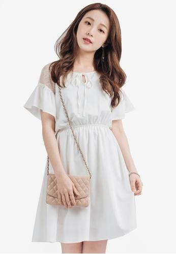YOCO white Romantic Dress with Lace Panelling YO696AA0SZUNMY_1