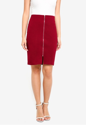 ZALORA BASICS red Zip Front Pencil Skirt 714F0AA9CB5ABFGS_1