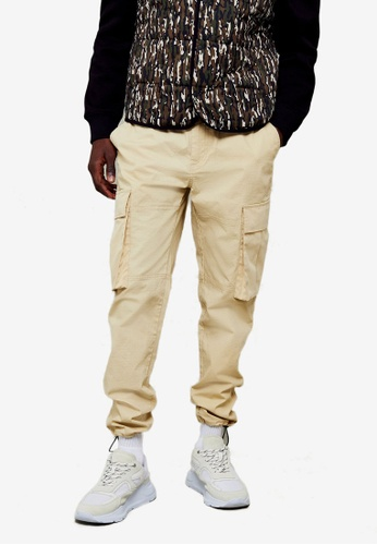 Topman beige Stone Belted Cargo Trousers 17798AA2ACBC30GS_1