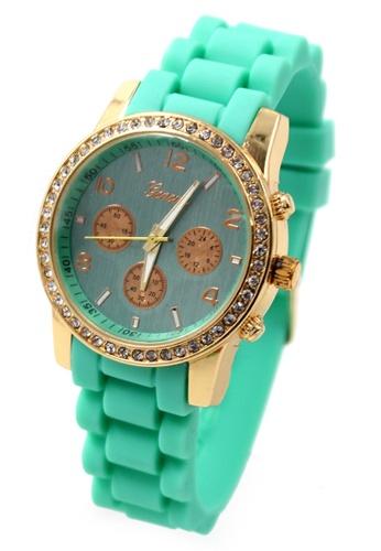 World of Watches green Geneva Marisse Women's Seafoam Silicon Strap Watch WO566AC13CBMPH_1
