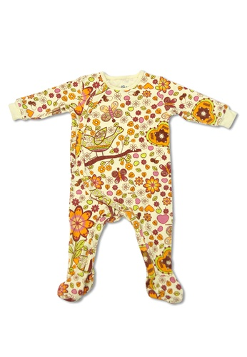 TeePeeTo yellow and multi Birds and Bees Girl Romper With Footie E1B13KA99854FDGS_1