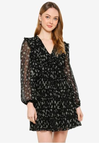 Miss Selfridge black Black Printed Pleat Mini Dress 77E2FAAB5DC9F0GS_1