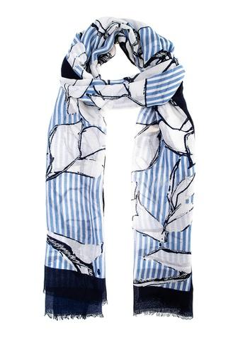 CIGNAL blue Stripe Floral Shawl E46D5AA0E18DE3GS_1