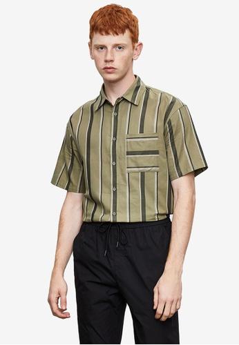 Urban Revivo green Short Sleeve Printed Shirt 9BEC1AA7B9FFE0GS_1
