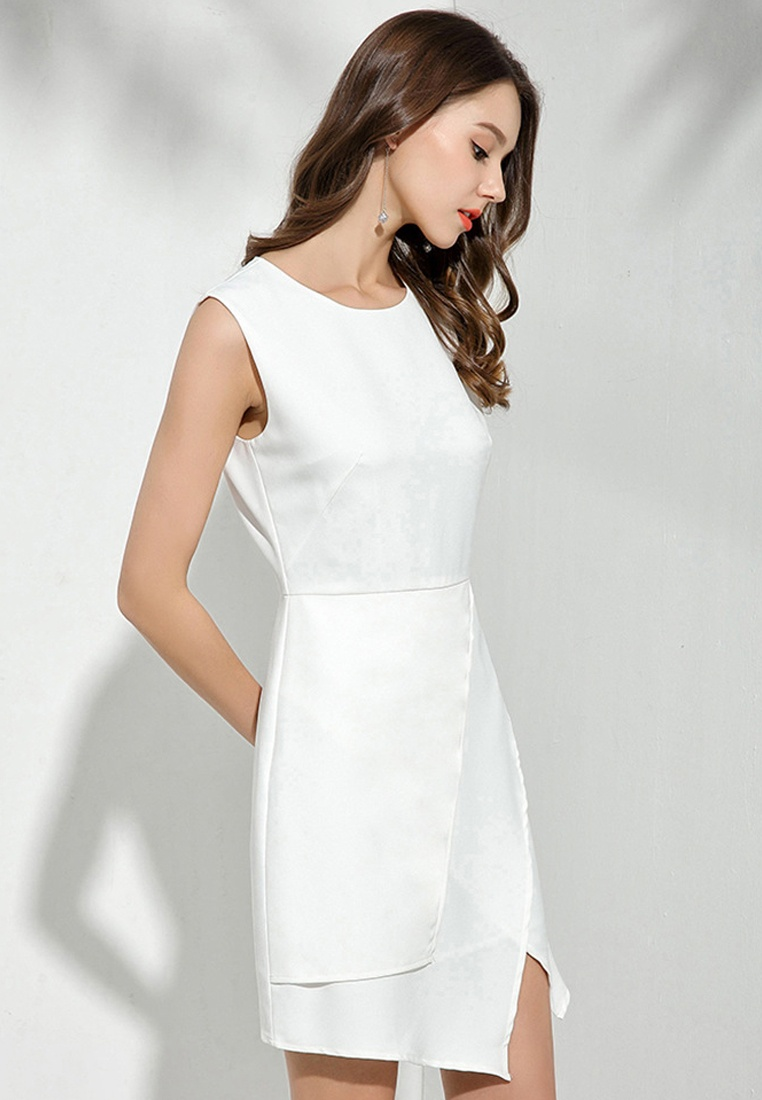 White One Asymmetrical Sunnydaysweety New Piece 2018 Sleeveless white CA043028 Dress Bqf4xS