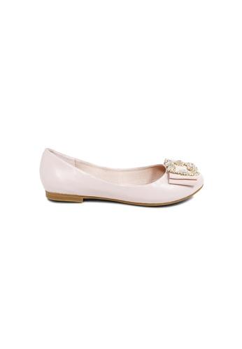 prettyFIT pink Pink Lambskin Ballerinas With Crystal Buckles On Satin Bows JH-008 25C90SH13EC3C1GS_1