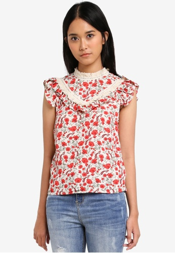 TOPSHOP white Floral Trim Shell Top DAA56AAEBCB918GS_1