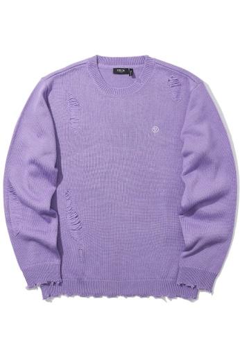 Fivecm purple Distressed knit sweater 9F002AAAD71C5DGS_1