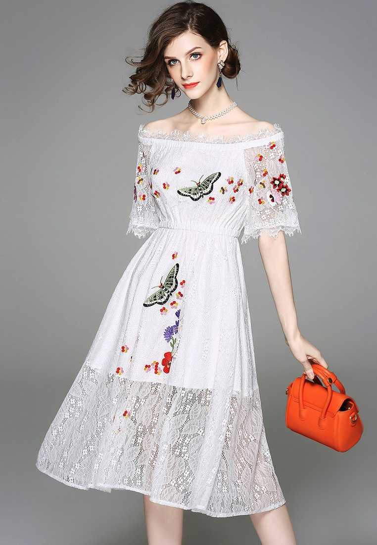 New Floral Sunnydaysweety A052214 Mini Piece 2018 Shoulder white Pattern Off Dress One White S1qgwxgda