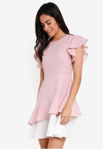 ZALORA pink Fit & Flare Dress with Double Layer Hem 24596AA826B32AGS_1