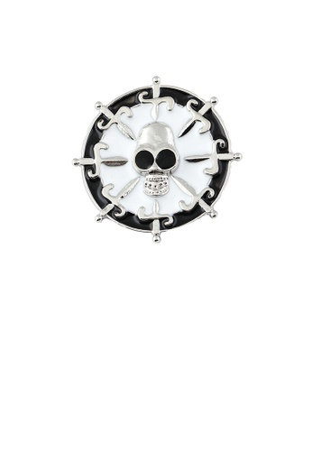 Glamorousky silver Fashion Personality Skull Geometric Round Brooch 3E046AC31BE0F9GS_1