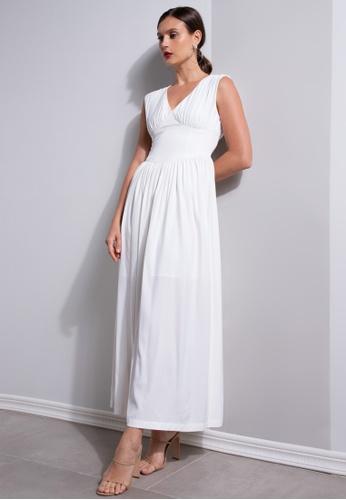 ZALORA OCCASION white Ruched Corset Waist Dress F37CAAA02467B9GS_1