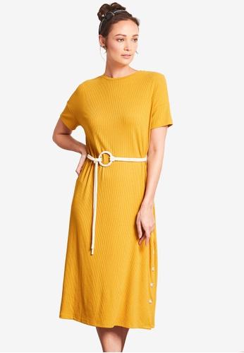 Nichii 黃色 Belted Solid Tee Dress 4E204AA65BD062GS_1
