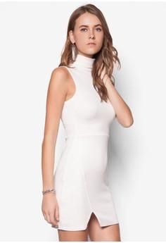 Roll Neck Wrap Hem Bodycon Dress Ivory