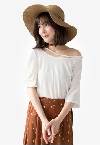 Tokichoi white Casual Uneven Neck Top B2E72AAF0F7161GS_1