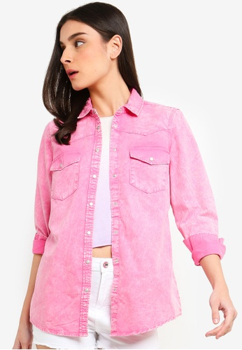 OVS pink Mis Dyed Effect Denim Shirt 8B914AAB4A14EAGS_1