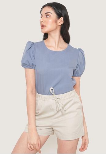 ForMe blue Puff Sleeve Shirt 12FC7AA378FDB4GS_1