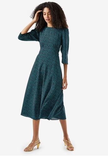 Dorothy Perkins green Spot Print Empire Woven Midi Dress 5F4E2AA1D528A5GS_1
